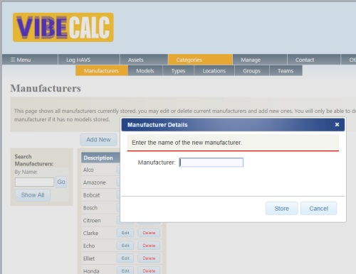 Screengrab - Adding manufacturers to categories