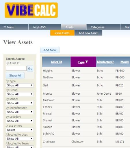 Screengrab of Vibecalc Asset list